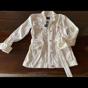 NWT Abercrombie white denim jacket size M